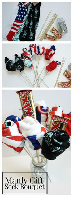 Manly Gift Idea- DIY Sock & Candy Bouquet for Father's Day, Birthday or Anniversary!