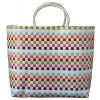 Handy large tote white with multi squares Large Tote, Resort Wear, Tote Bag, Bags, Squares, Basket, Totes, Handbags, Bobs