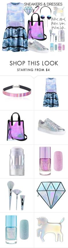 """Sporty Chic: Sneakers and Dresses"" by anna-gabedava ❤ liked on Polyvore featuring Victoria, Victoria Beckham, Kenzo, Puma, MILK MAKEUP, Forever 21, Unicorn Lashes, WithChic and holographic"