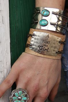 """Fight like a girl"" cuff bracelet. Gypsyville by The Junk Gypsy Co."