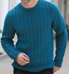 Knitting Patterns Men Men& textured sweater - pattern is only available in a book but the book has a lot of great pat. Crochet Jumper Pattern, Sweater Knitting Patterns, Knit Crochet, Crochet Sweaters, Gents Sweater, Crochet For Beginners, Men's Tanks, Baseball Tees, Men Pants