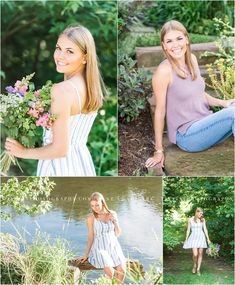 A beautiful, natural senior session along the water featuring a fresh bouquet of flowers. Photographed by Mechanicsburg Pennsylvania senior photographer Tina Jay Photography.