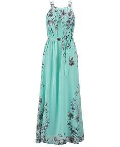 Halter Neck Floral Print Sleeveless Beach Maxi Long Dress