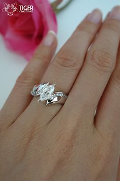 Size 9: 1 Carat Marquise Accented Engagement by TigerGemstones