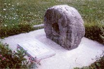 Haun's mill stone discovered by George Edward Anderson in 1906 now on display in the city park at Breckenridge, Missouri. Photo courtesy Alexander L. Baugh