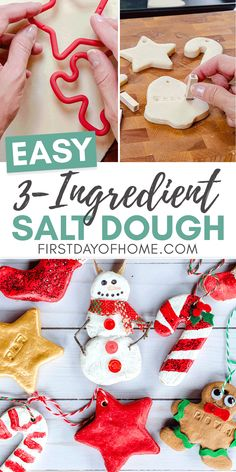 Learn how to make easy salt dough ornaments with this recipe that kids will loving making! This is a quick bake or no-bake recipe, and you can use any kind of acrylic paint, glitter, ribbon or other decoration to make DIY ornaments from it. Preschool Christmas, Christmas Activities, Christmas Crafts For Kids, Homemade Christmas, Diy Christmas Gifts, Christmas Projects, Simple Christmas, Holiday Crafts, Felt Christmas