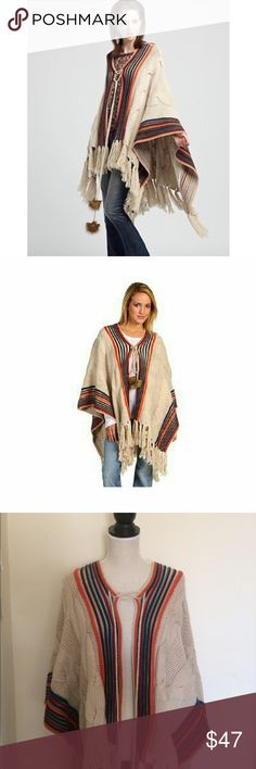 Lucky Brand Boho Sweater Poncho Great condition! Only worn once Lucky Brand Sweaters Shrugs & Ponchos
