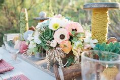 #vintage, #rustic, #centerpiece  Photography: Megan Hartley Photography - meganhartleyphotography.com Styling: Whit Mitt Design and Events - whitmitt.com Floral Design: Art with Nature Floral Design - artwithnaturedesign.com  Read More: http://www.stylemepretty.com/2012/04/13/desert-styled-wedding-for-two-in-irvine-by-megan-hartley-photography/
