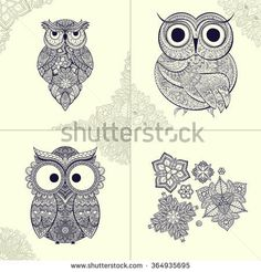 set of pattern Boho ornamental owl illustration, ethnics abstract doodle on floral background, sketch of totem animal with feather in tribal decor