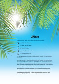The #namemeaning of #Kevin using Palm Leaves from the project pack Nature. Unique #giftideas and #personalizedgifts for #babynames