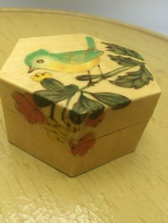 "Small Turned Wood Hand Painted Lacquer Trinket Pill Ring Box 2""X2""x1"" Blue Bird 