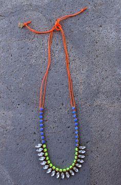Neon Navette Necklace - Lily Dawson Designs, $75.00 #handmade http://www.lilydawsondesigns.com/shop/necklaces/neon-navette-necklace/#