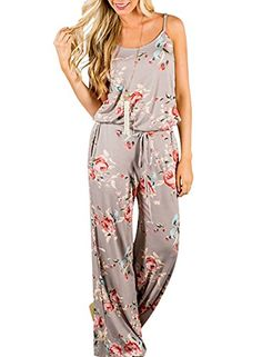 56ee5d10437f Amazon.com  AMiERY Floral Printed Jumpsuit Women Halter Sleeveless Wide  Long Pants Jumpsuit Rompers  Clothing