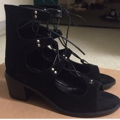 EGO UK Lace Up heels Faux suede almost velvety feeling material. Brand new never worn! If you buy today I will mail them today as well. NOT ZARA brand Zara Shoes Lace Up Boots