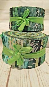 Batik Cotton Jelly Roll 40pc Green Tones Quilting craft    eBay