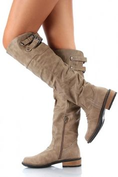Qupid Relax- X Buckle Knee High Boot