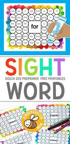 Free Sight Word Printables and Worksheets! These Dolch 220 Activity Pages are perfect for Kindergarten or First Grade Students. Students will love matching Dolch pre-primer sight words in these fun and colorful worksheets. Use a bingo dauber or marker to Preschool Sight Words, Teaching Sight Words, Sight Word Practice, Sight Word Bingo, Sight Word Centers, Sight Word Wall, Word Play, Homeschool Kindergarten, Preschool Learning