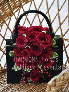 #flowergirl #flowerpurse #redroses Ring Bearer, Flower Girls, Red Roses, Wedding Events, Gift Wrapping, Party, Gifts, Handbags, Flowers