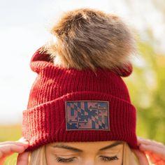 452215eb8da Maryland Flag Leather Patch (Burgundy w  Fur Pom)   Slouchy Knit Beanie Cap
