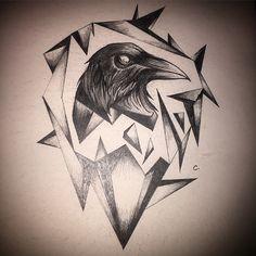 Corbeau pour un futur tatouage dessin                                                                                                                                                                                 Plus