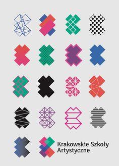 Logos by Nina Gregier  proste kreski  for Krakowskie Szkoły Artystyczne