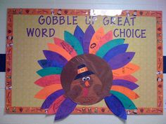 thanksgiving bulletin board idea with CTP's Thanksgiving Stick Kids Border