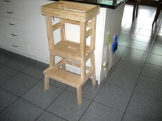 Jackie's husband made this fabulous DIY Learning Tower for a total of $30. He used a stool from Ikea with some additional pieces attached above the highest step. Easy and cheap.      We found this tower excellent for little people as it was sturdy and light enough for Jack to move by himself around the kitchen when required.