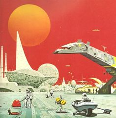 """70s sci-fi art by Angus McKie from """"Terran Trade Authority Handbook: Spacecraft 2000 to 2100 AD"""" by Stewart Crowley, 1978."""