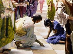 What was Jesus writing on the ground? John 8: 7-8