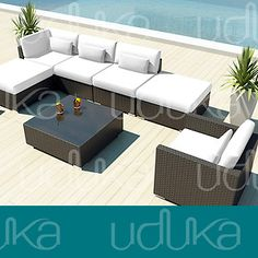 New Patio Outdoor Furniture Wicker Sofa Set Porto 7 PC Modern Sectional Peridot | eBay