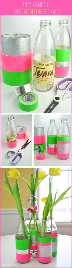 Spring bud vases easy craft idea with Duck Tape.   www.clubchicacircle.com #DuckTape  #ad