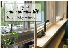 How to add a windowsill to a window  using stacked craft wood. Easy fun update! Give plants a prime spot in the sun.