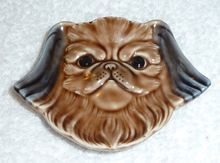 Vintage WADE England Pug Dog Pekingese Puppy Teabag Holder Spoonrest Porcelain