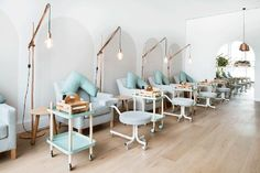 These nail salon interiors are a vision of perfect hospitality design. Take a look at these beautiful spa spaces that are sure to inspire! Nail Salon Design, Nail Salon And Spa, Nail Salon Decor, Beauty Salon Decor, Beauty Salon Design, Interior Design Magazine, Interior Design Books, Nail Deco, Schönheitssalon Design