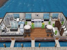 House 52 Boat Restaurant (ground level) #sims #simsfreeplay #simshousedesign Boat Restaurant, Sims Freeplay Houses, Sims 4 House Building, Sims House Design, Sims Free Play, Casas The Sims 4, My Sims, House Layouts, How To Level Ground