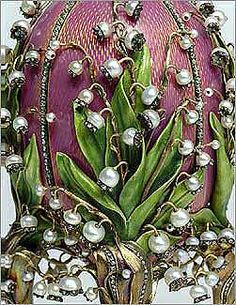 Detail of the Faberge Lilies of the Valley Egg, Easter gift presented in 1898 by Tsar Nicholas II to his wife Alexandra Feodorovna.