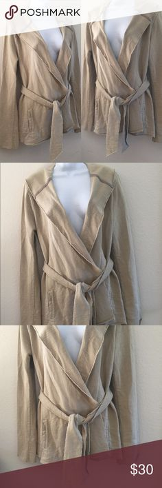 """Lucky Brand Open Front Tie Waist Hooded Sweater Brand: Lucky Brand  Size: Large  Color: Tan  Fabric: 100% Cotton  Country of manufacture: Sri Lanka  Details: Long sleeve. Hooded. Tie waist. Two side pockets. Raw edge finish.  Approx Measurements: PTP 21.5""""; Back Length 29""""  Condition: Garment has been worn but still in pretty good shape. The photos are the BEST description of the item and are MORE IMPORTANT than my written description! Try the """"ZOOM"""" feature, it is a great way to take a…"""