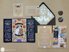 Beautiful wedding invitation suite featuring buttons by Elizabeth Baddeley Illustration. #wedding #favor #buttons