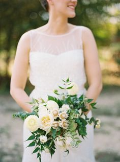 Loose, textured bride's bouquet in green and ivory.  Photo by Apryl Ann Photography, Floral by Bows and Arrows.