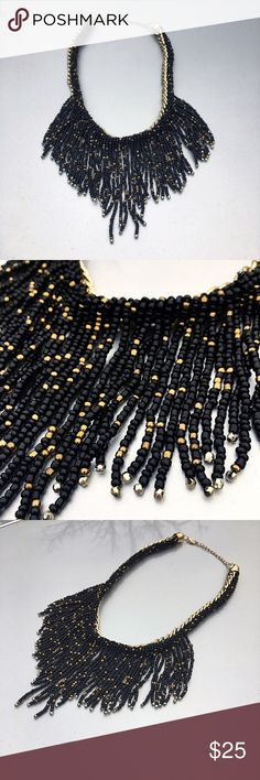 Brand new gold necklace with black & gold beads Brand new gold colored necklace with black & gold beads! Awesome piece!❤️ Jewelry Necklaces