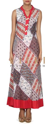 Buy this Multi color long printed kurti in fancy buttons only on Kalki