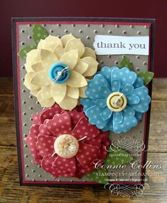 Cute flowers - http://www.constantlystamping.com/constantly_stamping/2011/08/artisan-award-swap-project.html