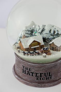 """Custom snow globes made for the cast and crew of Quentin Tarantino's """"The Hateful Eight"""" by QueenOfSnowGlobes.com"""