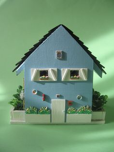 Little Blue house -Dollhouses Miniature scale 1:48. €150.00, via Etsy.