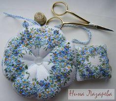 I ❤ pincushions . . .  Shades of blue & white Flowers Pincushion ~By Huna Nazapeba, Ribbons World