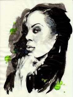 Sanya Richard - parker pen, black ink, illustration by Mitja Bokun, december 2012