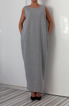 Grey Maxi Dress Kaftan Plus size dress Grey от cherryblossomsdress