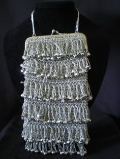 1940s silver fringed FLAPPER bag AE126, £95.00
