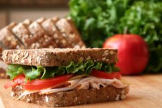 This sandwich is a source of lean protein, whole grains and healthy fats.