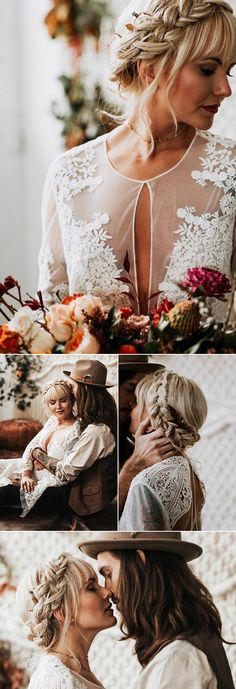 From braids that turn into up-dos to romantic braids that loosely fall over your shoulder, there are so many braided styles to choose from for your big day.